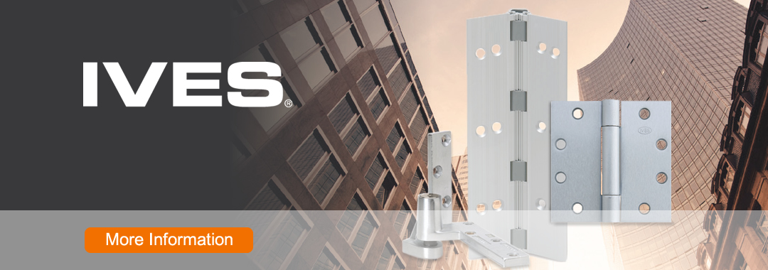 IVES has produced a full line of quality building hardware for over 120 years. IVES' reputation is known for its emphasis on application flexibility and value. IVES' extensive hardware line includes a variety of pivots, flush bolts, push/pull handles, kick plates, doorstops, hinges and much more.