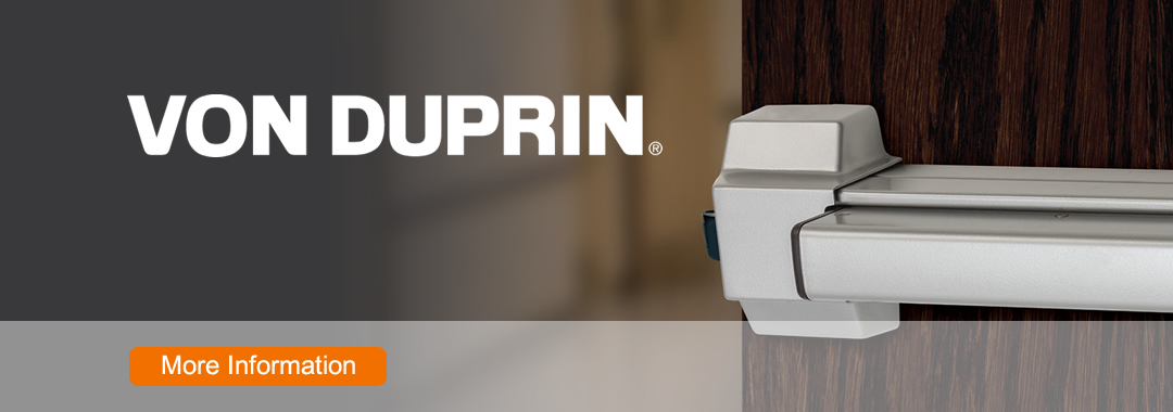 W. R. Ringheim stocks a wide variety of Von Duprin products. Von Duprin manufactures the widest range of exit devices and outside trim operations, including rim-type and mortise lock, surface and concealed vertical rod, fire-rated and several electrical options.